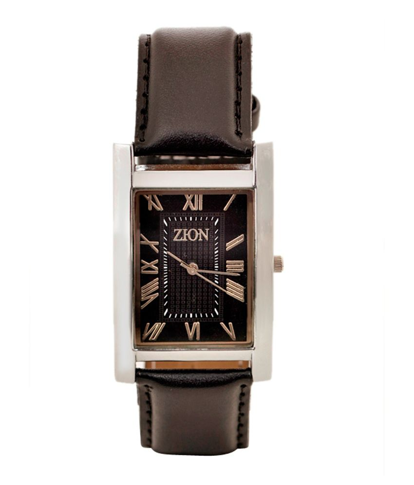 Zion Black Analog Quartz Rectangular Casual Couple Watch Combo