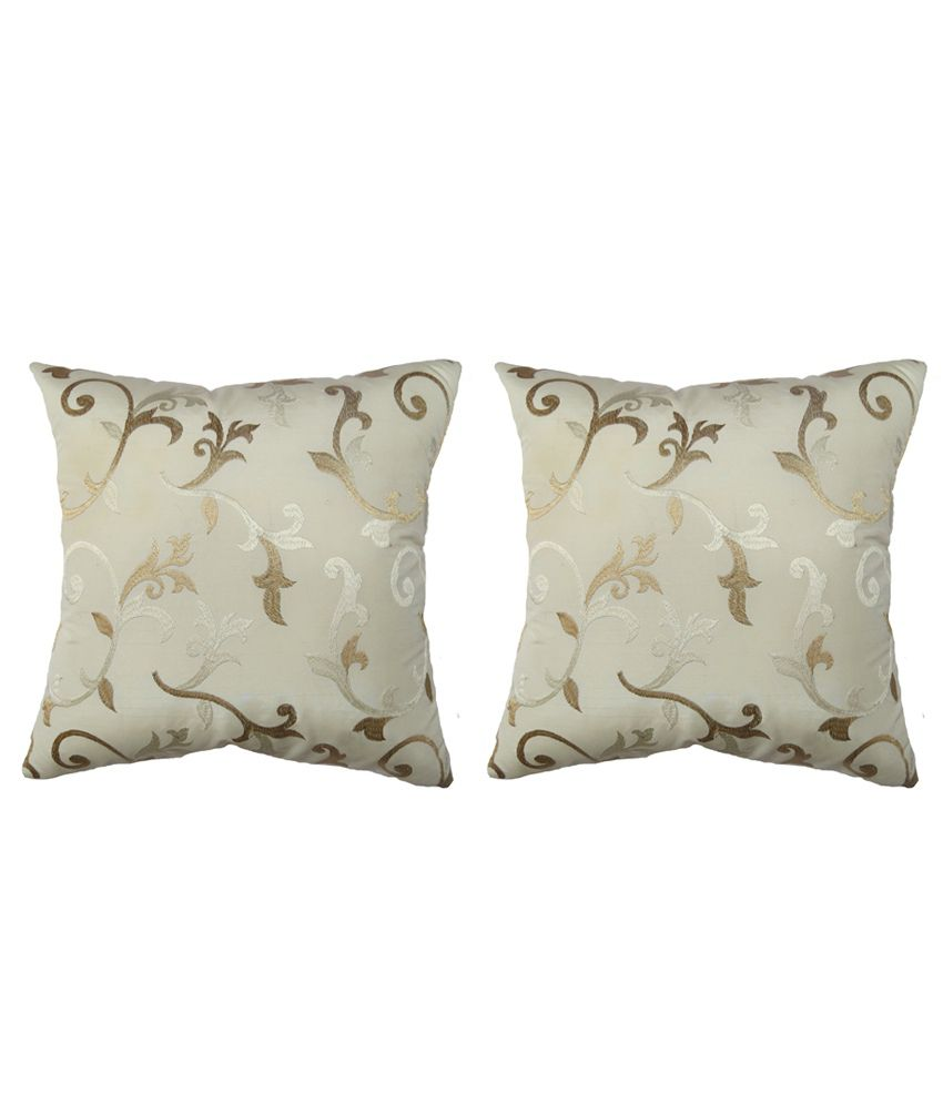 Aawrun Embrodery Polyester Cushion Covers - Combo Of 2