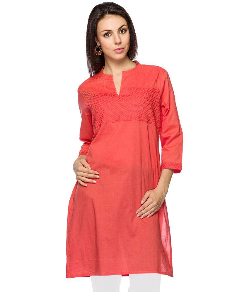 Ethnicity Pink Solid Cotton V-Neck 3/4th Sleeves Medium Kurti