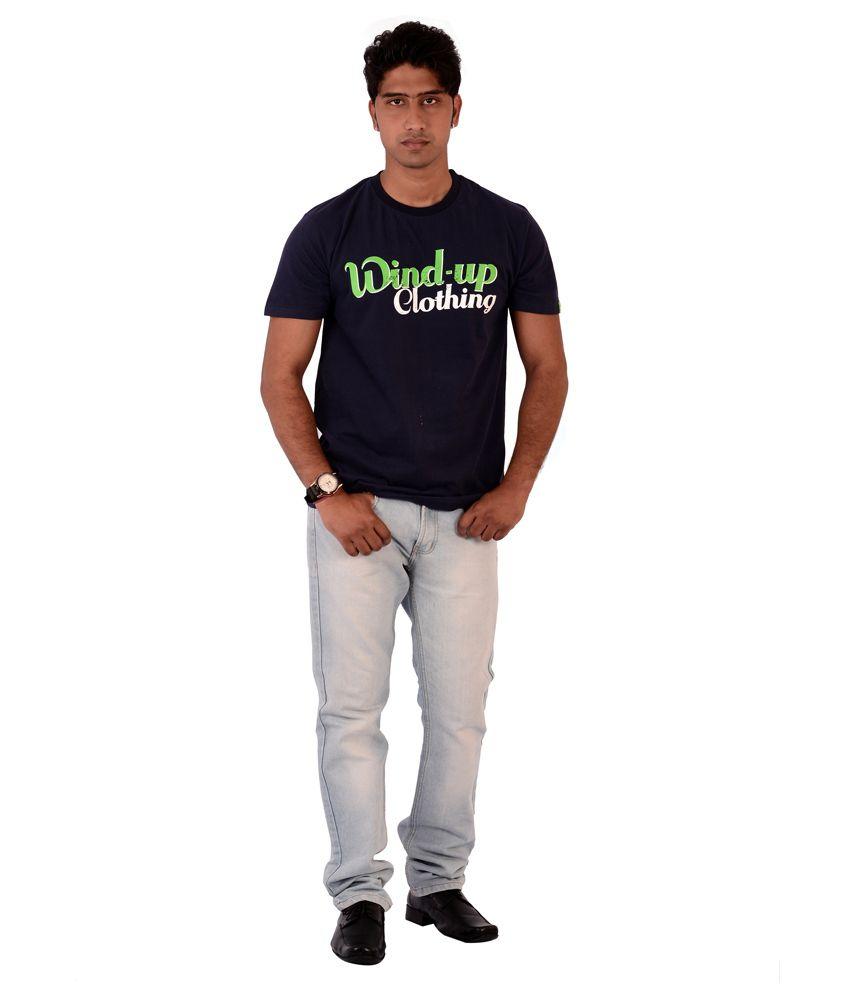 Fashnopolism Blue Cotton T Shirt For Men