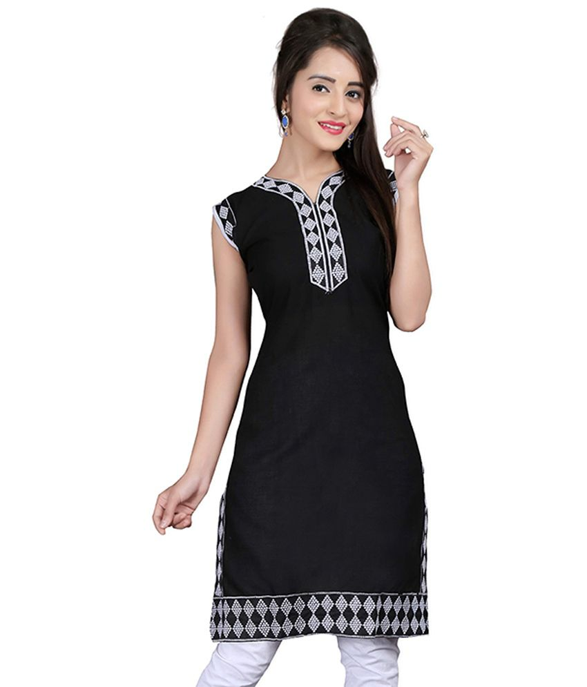 Lookslady Black Cotton Embroidered Sleeveless V-Neck Kurti