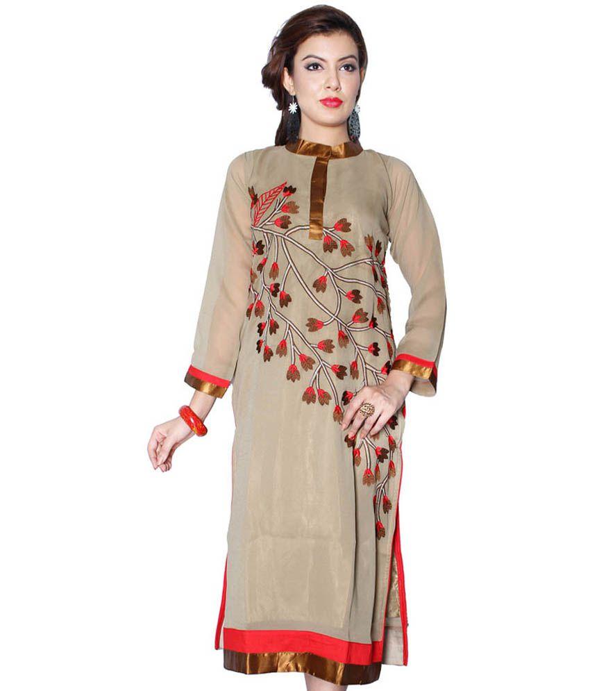 Satrangi Brown Georgette Embroidered Kurti Price In India Buy