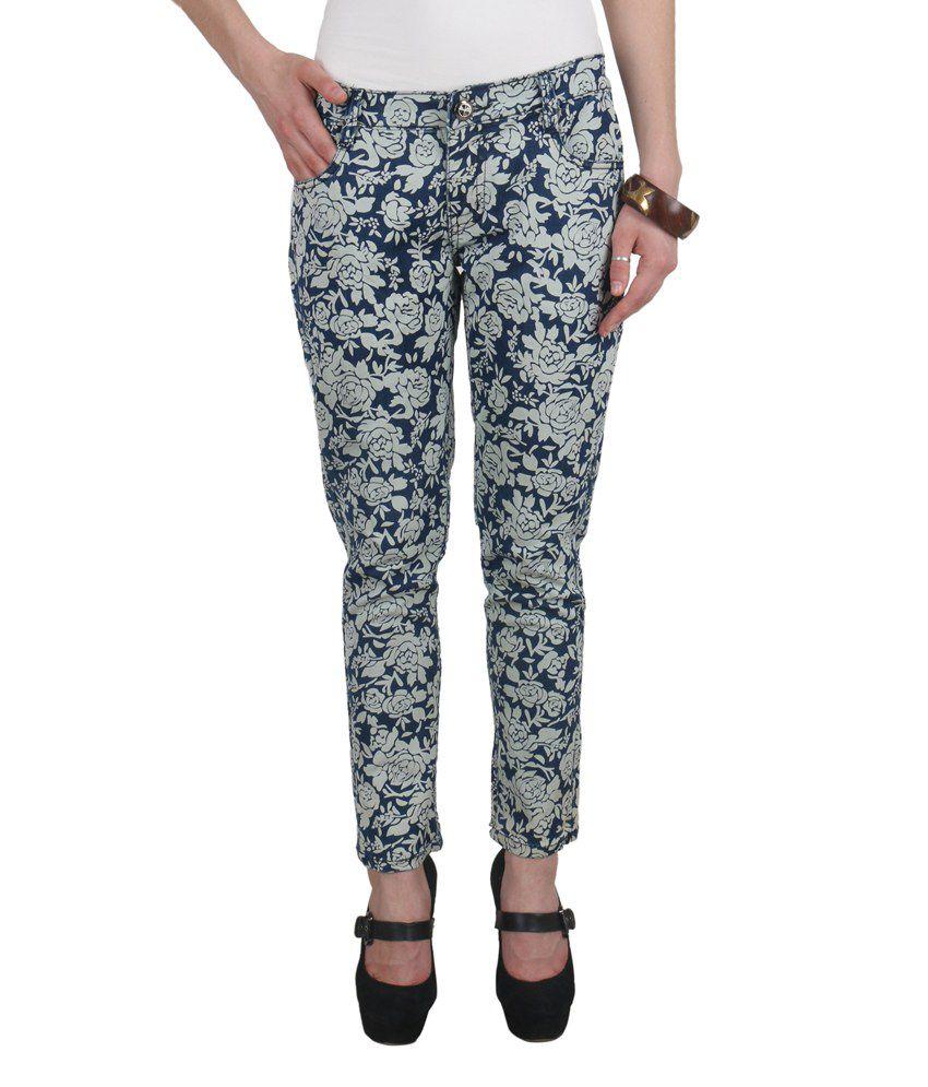 Addyvero Blue Cotton Lycra Premium Slim Fit Floral Printed Jeans