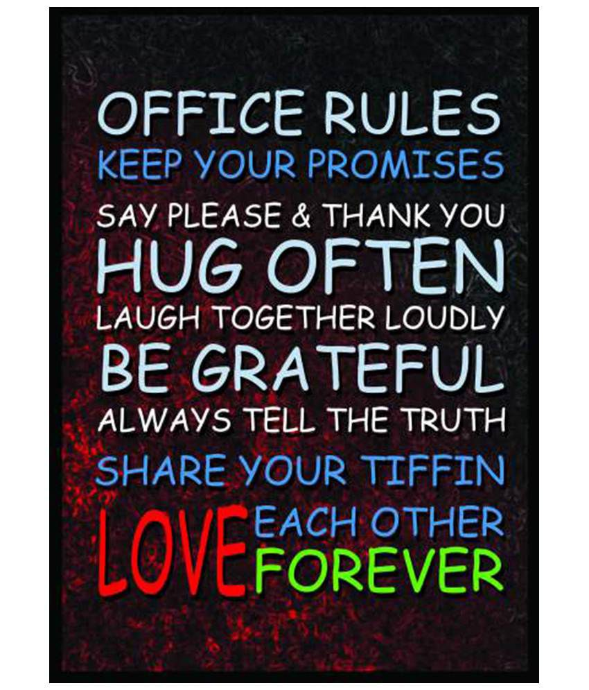 posters for the office. Bheja Fry Black Office Rules Poster Posters For The