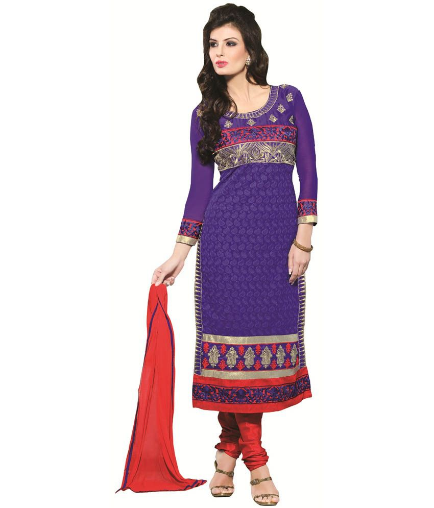 Heena Fashion Purple Embroidered Unstitched Georgette Dress Material