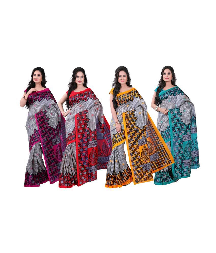 Raj Silk Chhapa Silk Saree With Blouse Piece - Set Of 4