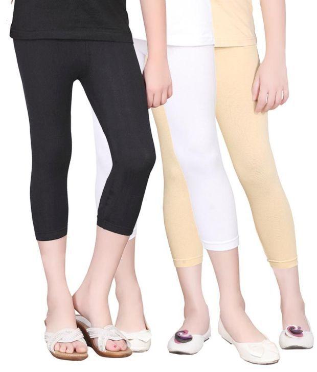 Sinimini Cotton Solids Designed Elastic Capris - Combo Of 3