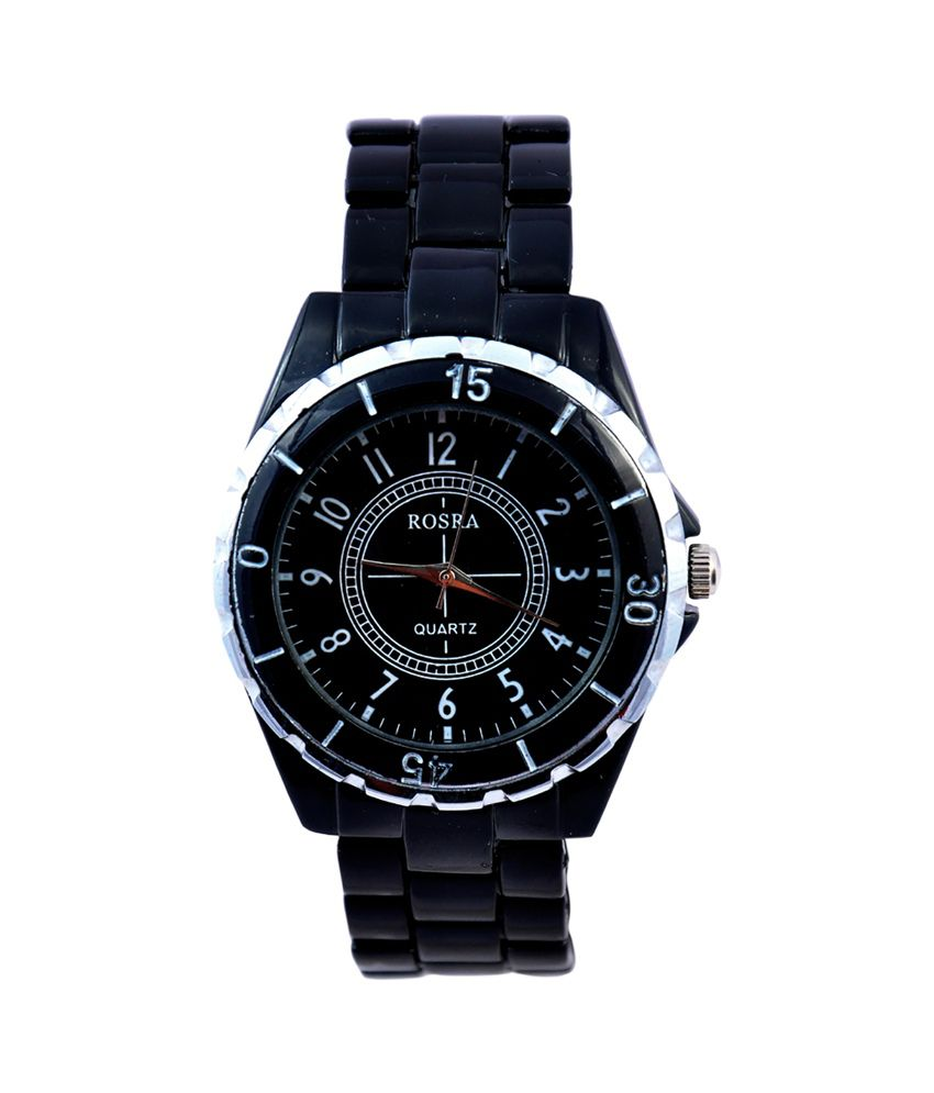 Suntrance Black Metal Round Analog Watch