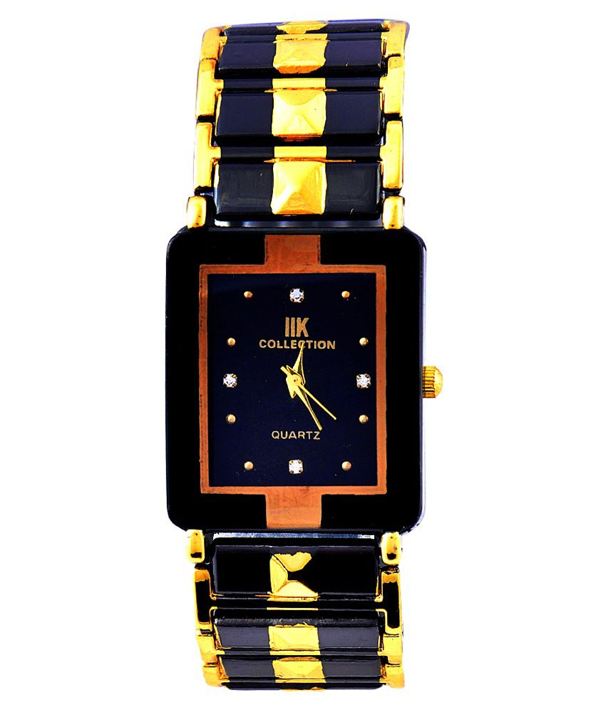 Suntrance Black Metal Square Analog Watch