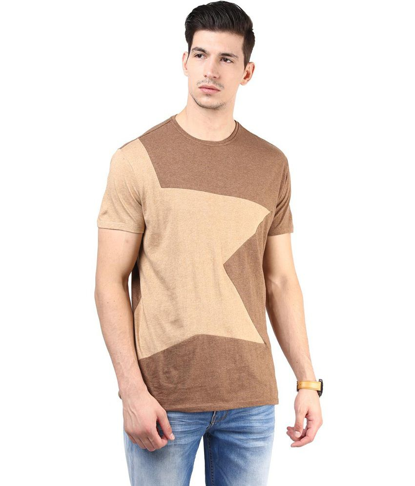 Tshirt Company Brown Cotton Half Sleeve Round Neck T-Shirt