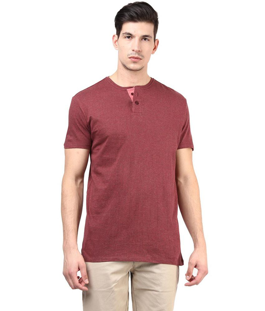 Tshirt company red cotton half sleeve henley t shirt buy for The red t shirt company