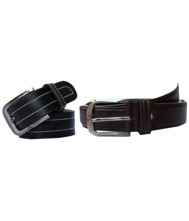 Winsome Deal Black And Brown Leather Belt For Men (Combo of 2)