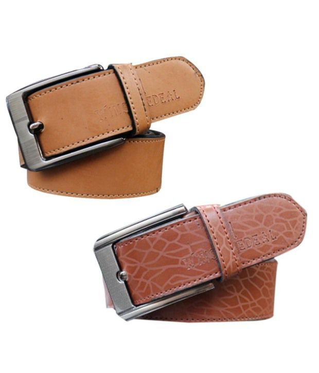 Winsome Deal Brown And Beige Leather Belt For Men (Combo of 2)