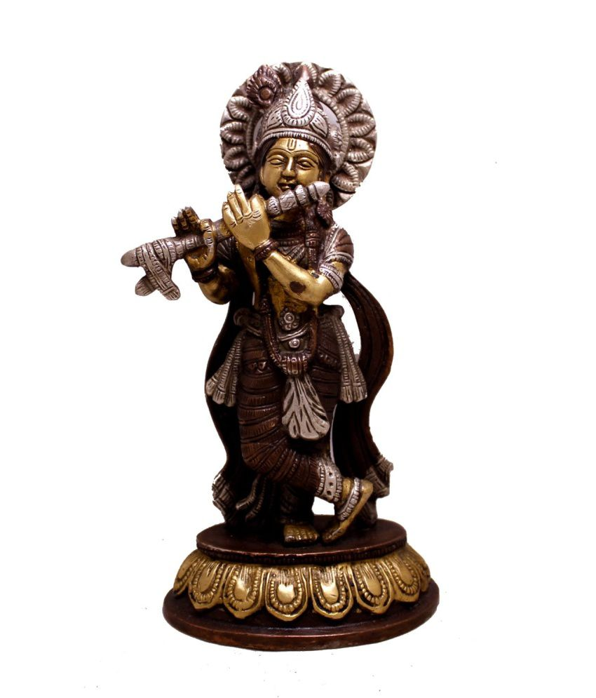 Amazing India Brown Brass Krishna Idol