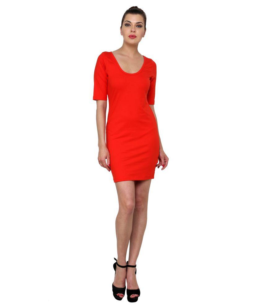 Finesse Red Stretch Bodycon Dress