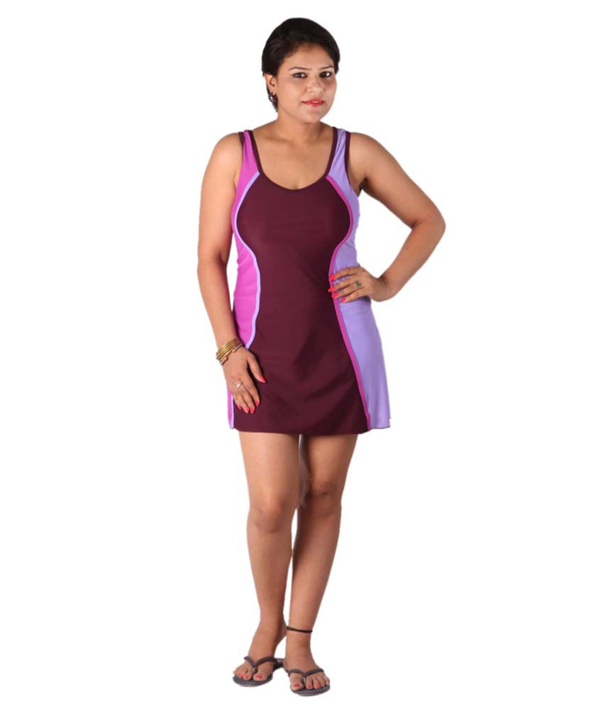 Indraprastha Wine Colour Swimsuit/ Swimming Costume