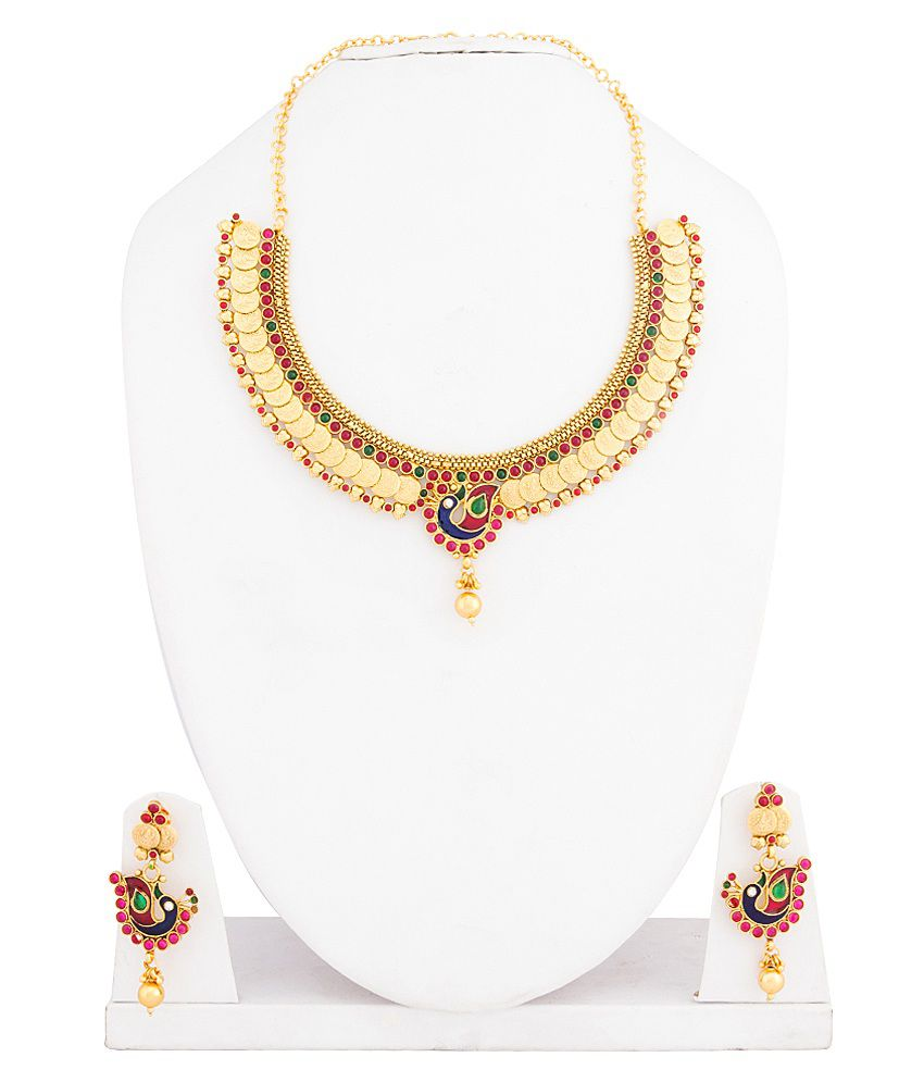 Parshwa Gold Peacock Design Necklace Set