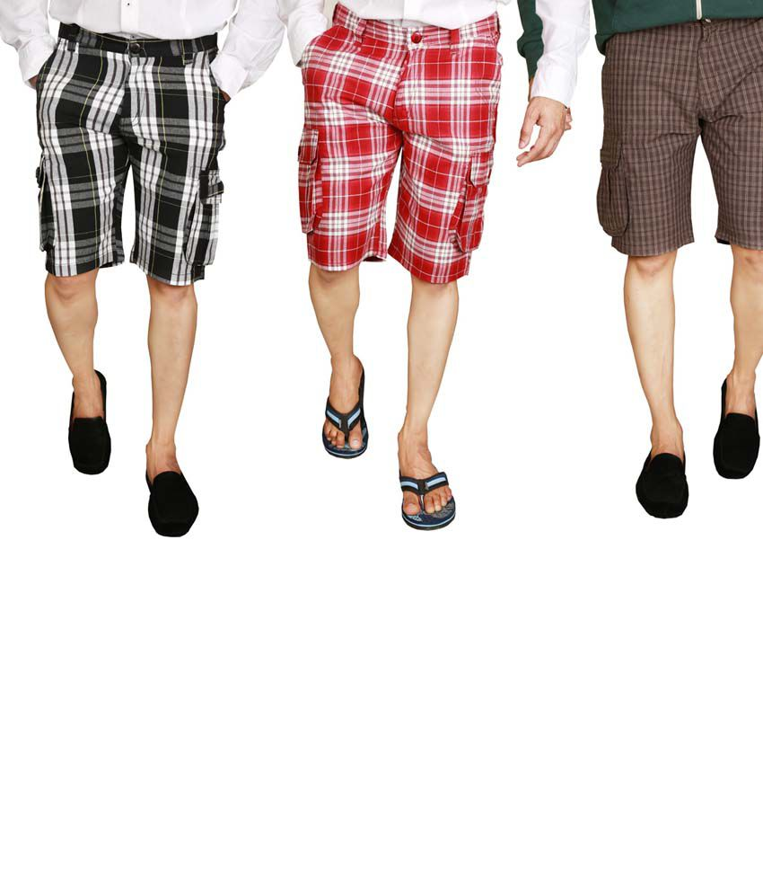 Sparrow Clothing Multicolor Cotton Checks Shorts - Pack Of 3