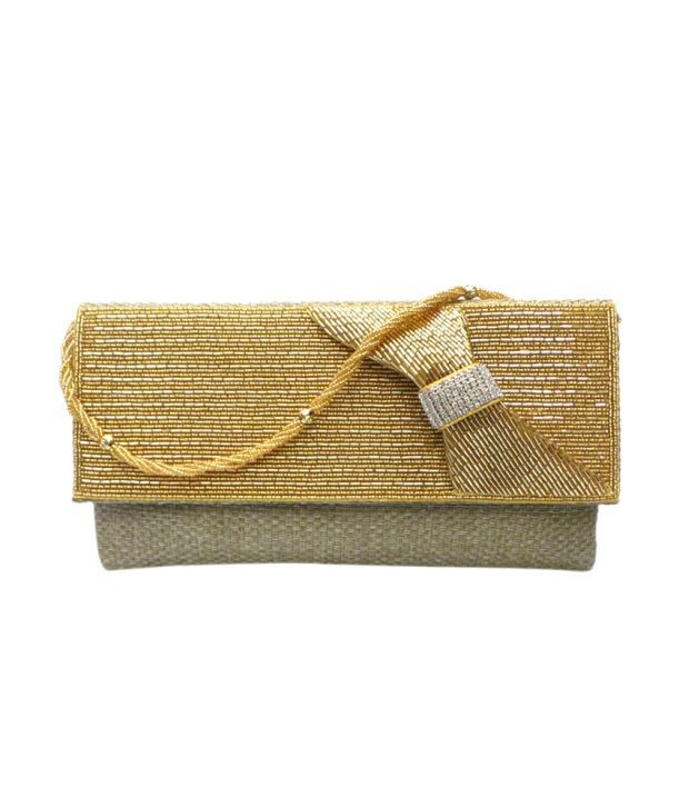Bhamini Jute Clutch With Beaded Bow Design (gold)