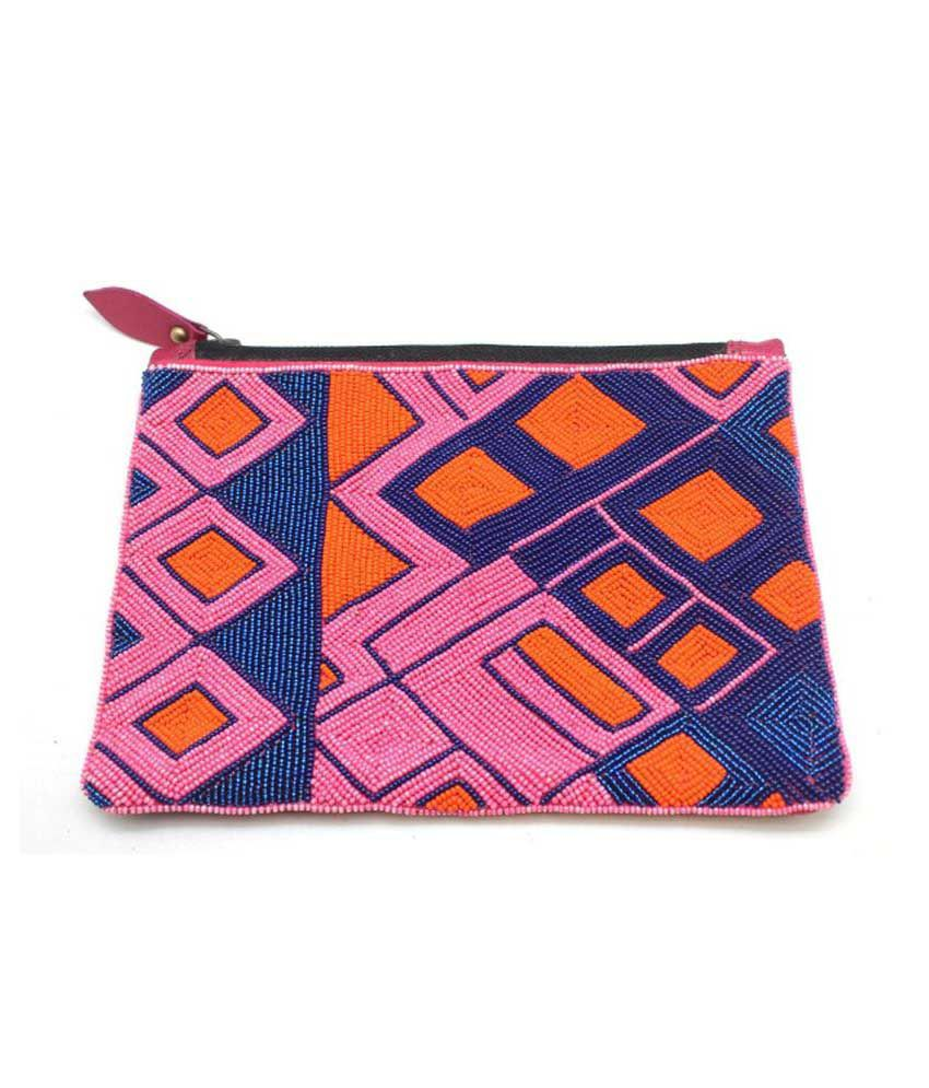 Lapalma Geometric Beaded Leather Pouch Blue