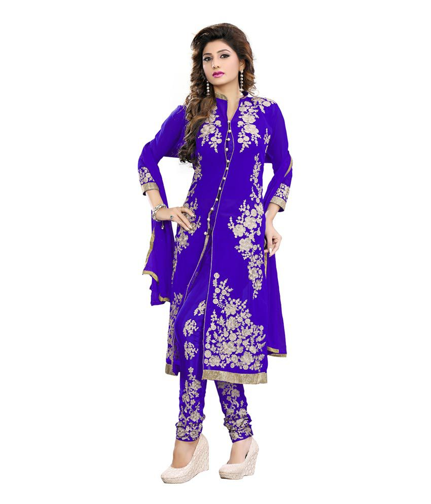 Om Sai Tex Blue Chiffon Embroidered Kasab Work Salwar Suit
