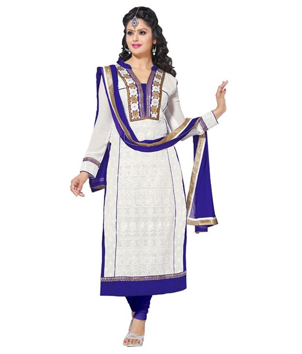 Sadguru Fabrics Faux Georgette White Unstitched Embroidered Dress Material