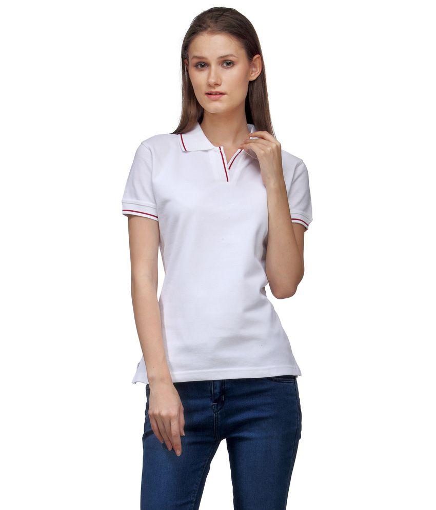 Scott International White Cotton Solids Half Sleeve Polo T-Shirt