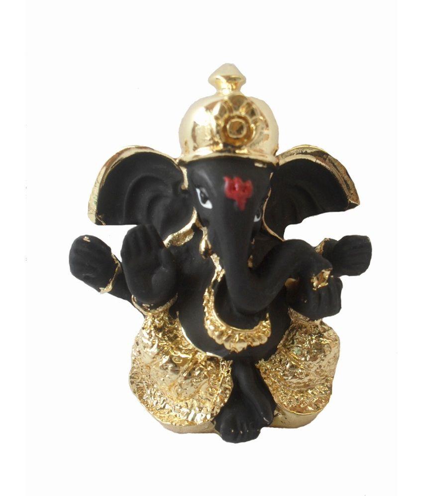 Sheela's Arts & Crafts Black Resin Ganesha Idol