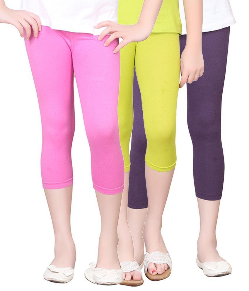 Sinimini Multi color Cotton Capris - Pack of 3