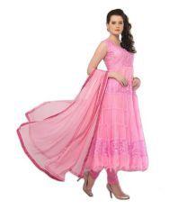 Rajgharana Pink Net Brasso Anarkali Dress Material