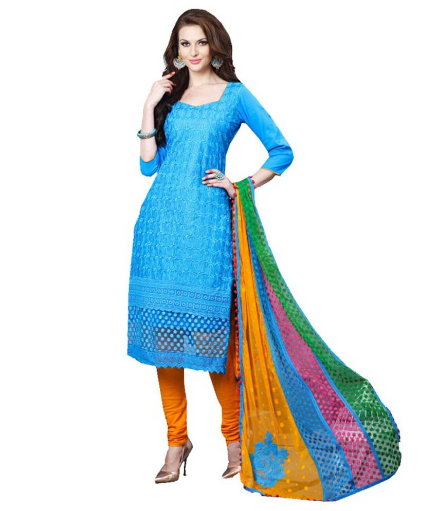 Rutbaa Blue Color Cotton Anarkali Dress Material - Buy ...