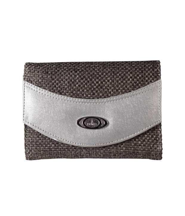 Top-zone Grey Jute Regular Wallet For Women