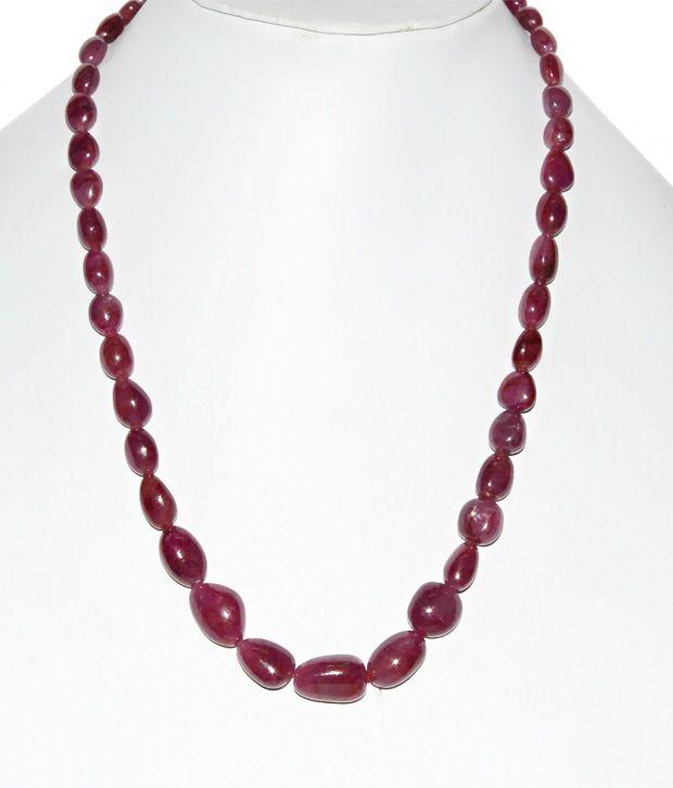 KCJ single line precious ruby tumble necklace