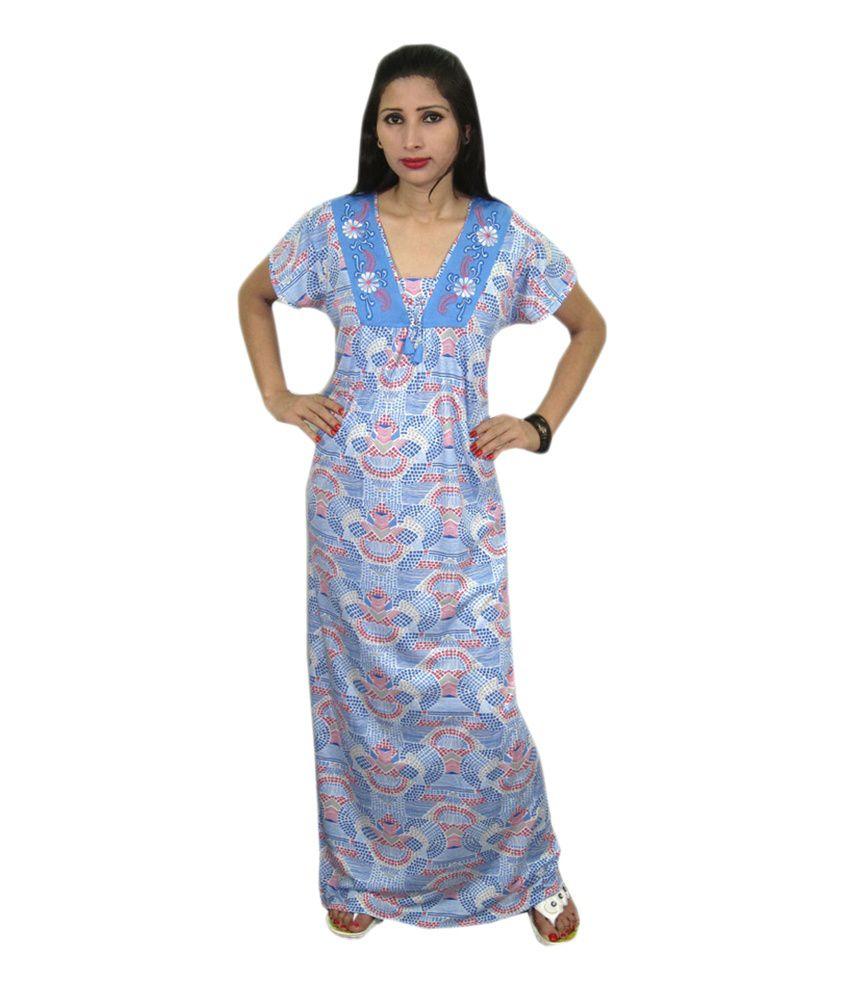India Trendzs Blue Printed Hosiery Nightwear