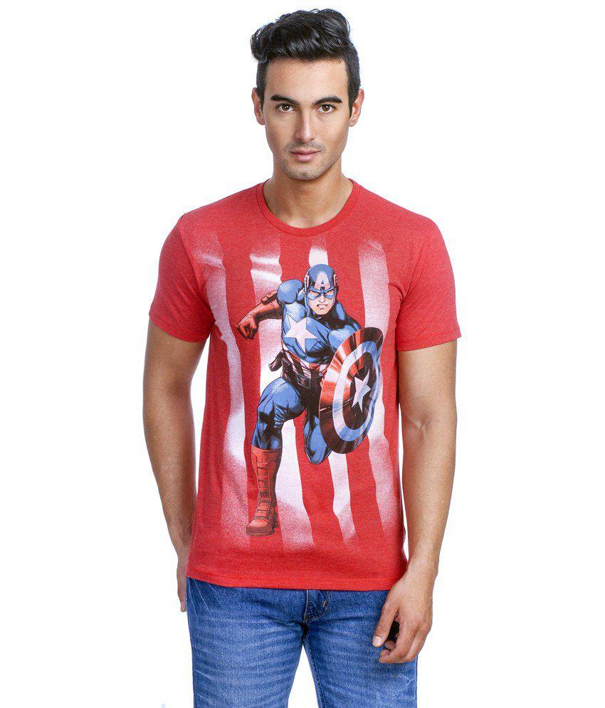 Disney Marvel Red Graphic T-shirt For Men