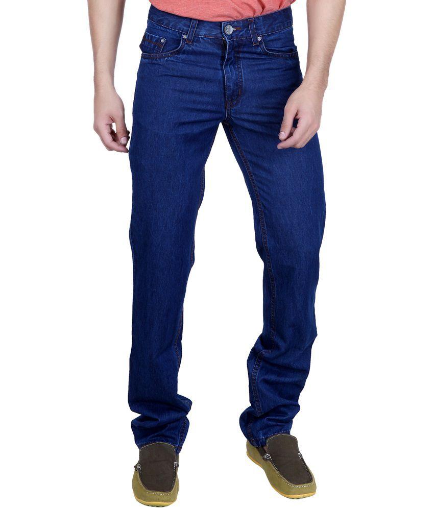 Puff Blue Cotton Regular Fit Fabulous Mid Waist Jeans