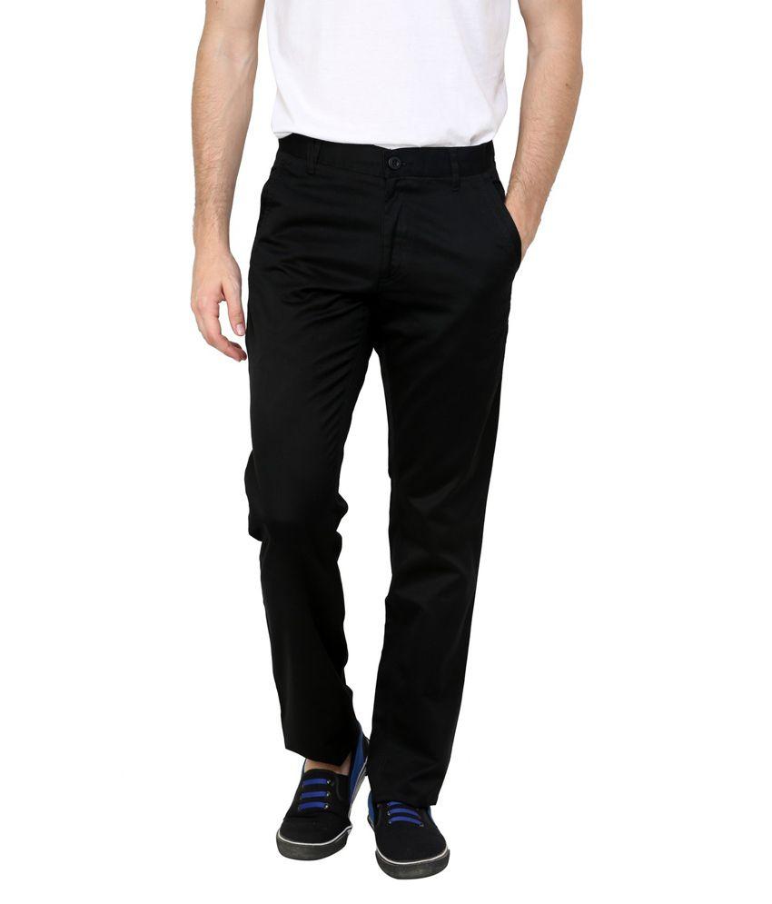 Cotton County Premium Black Cotton Regular Fit Formal Trouser