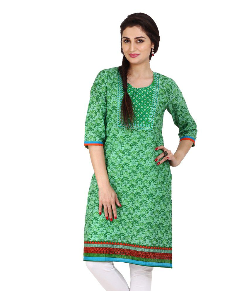 Fabnesia Green Cotton Printed Round Neck Kurti