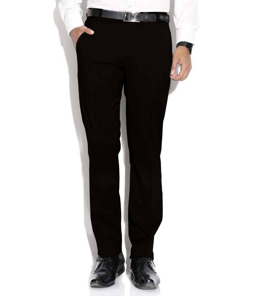 Fizzaro Black Regular Flat Trouser