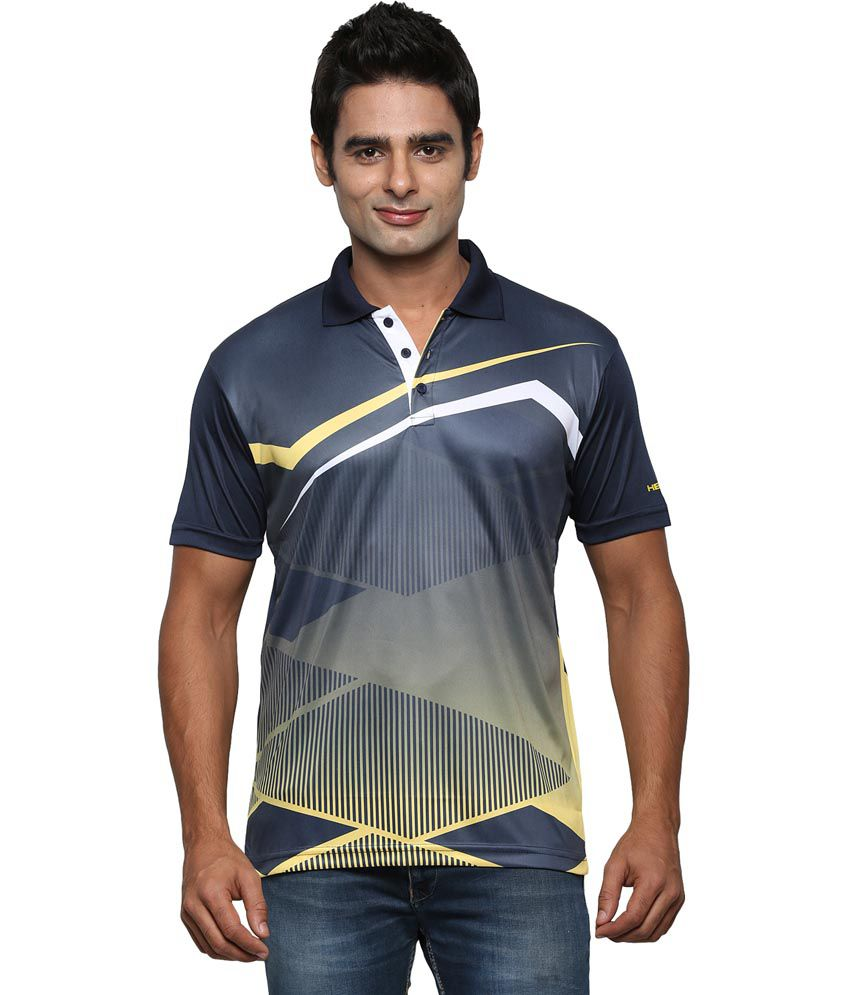 Head Navy Polyester Round Neck Polo T-Shirt