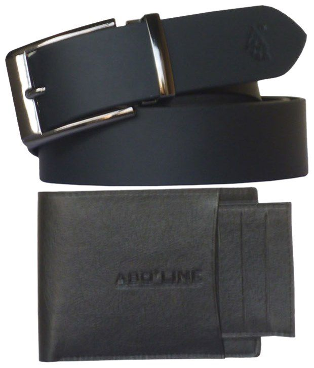Sondagar Arts Exclusive Combo Of Black Leather Belt & PU Leather Wallet