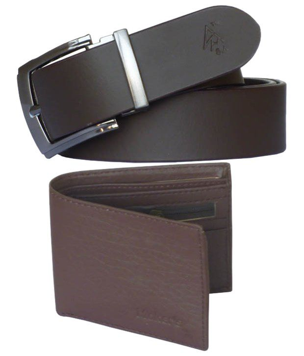 Sondagar Arts Exclusive Combo Of Brown Leather Belt & PU Leather Wallet