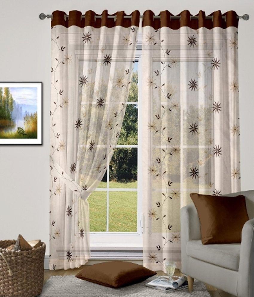 vorhang single long door eyelet curtain floral beige buy. Black Bedroom Furniture Sets. Home Design Ideas