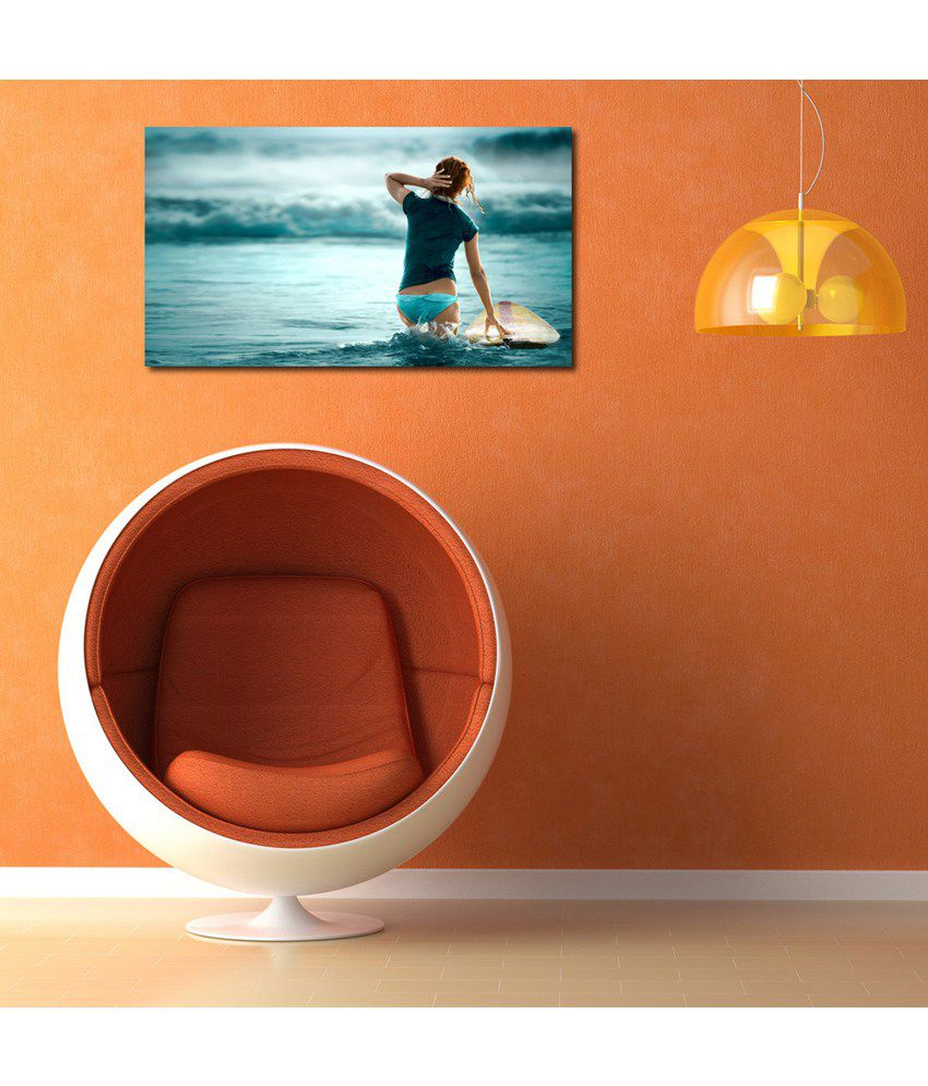 999Store Girl At Sea Shore Printed Modern Wall Art Painting - Large Size