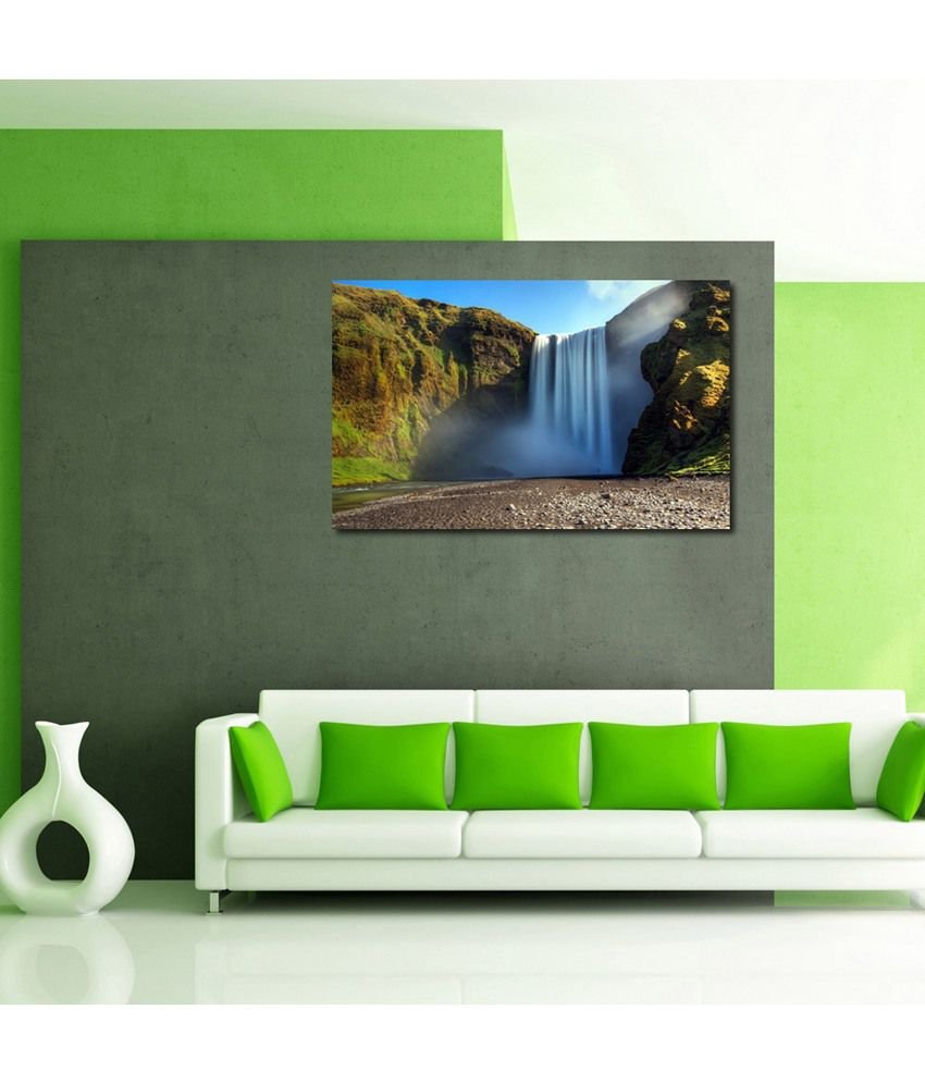 999Store Mountain Waterfall Printed Modern Wall Art Painting - Large Size
