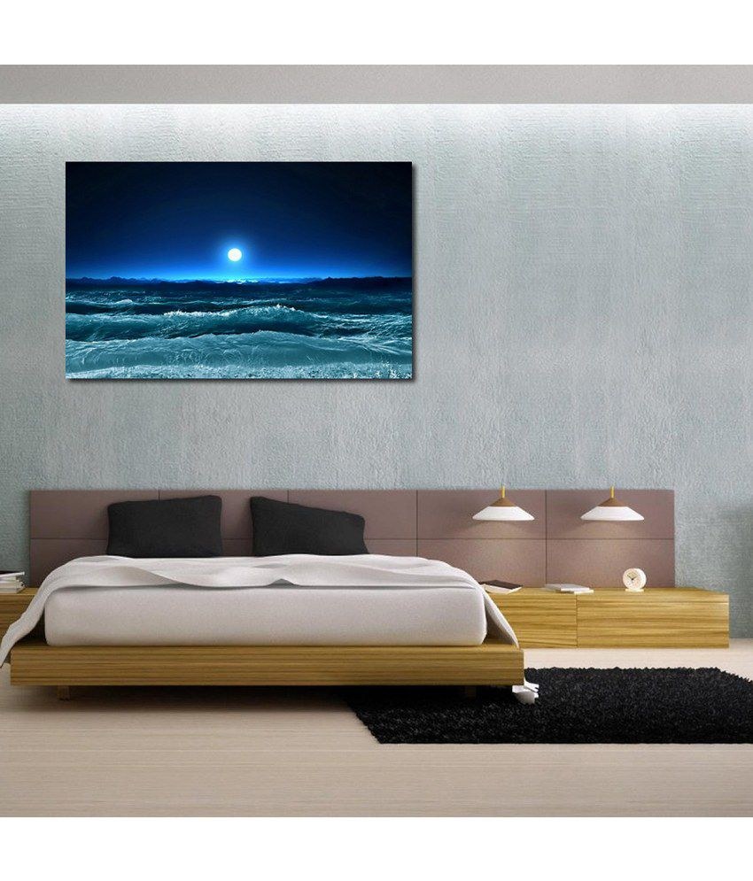 999Store Sea Moon View Printed Modern Wall Art Painting - Large Size
