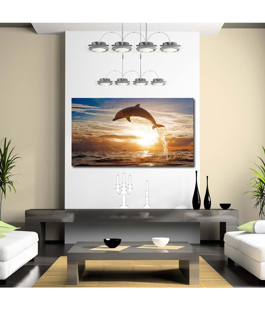 999Store Whale In Sea Printed Modern Wall Art Painting - Large Size