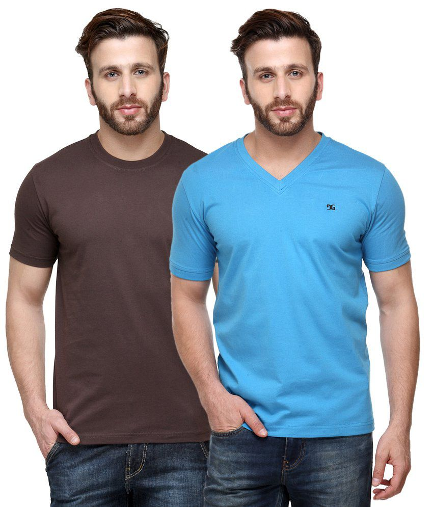 Dazzgear Combo of Regular Fit V-Neck and Round Neck T-Shirts - Brown & Blue
