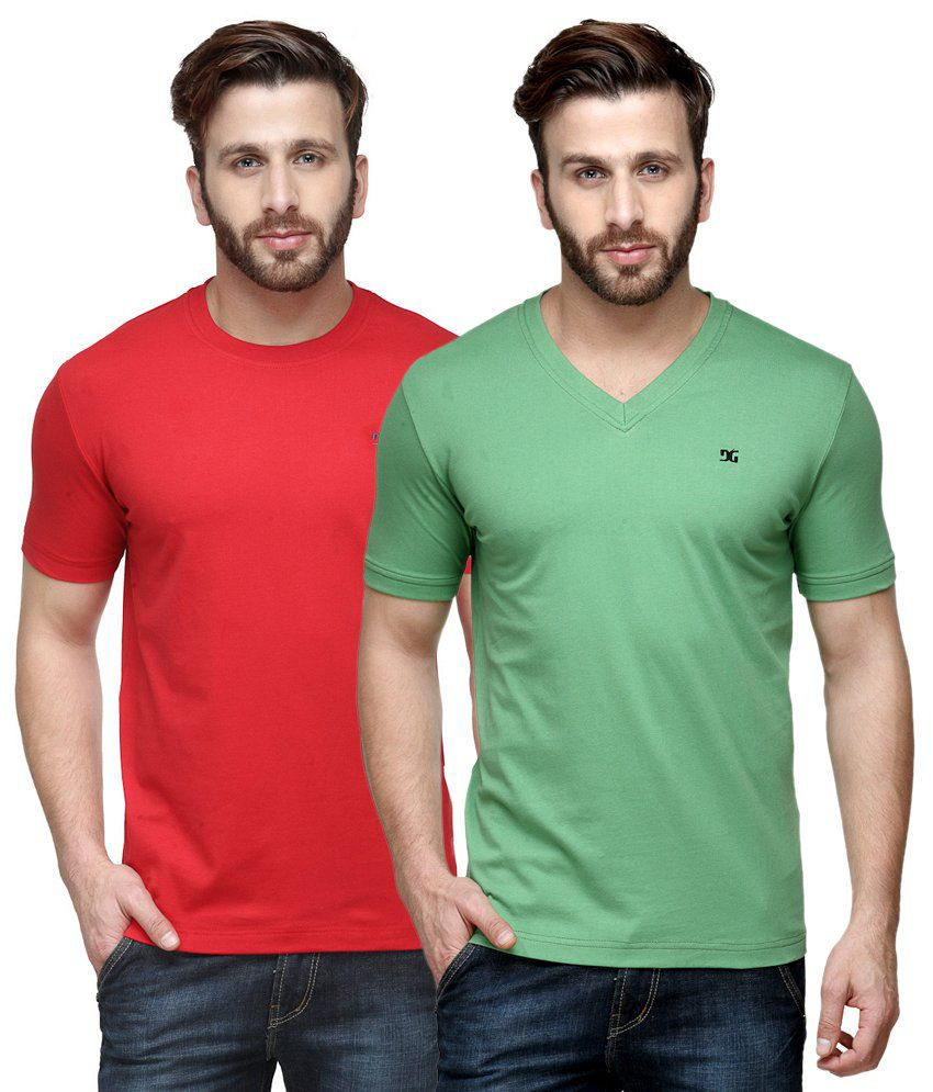 Dazzgear Combo of Regular Fit V-Neck and Round Neck T-Shirts - Red & Green