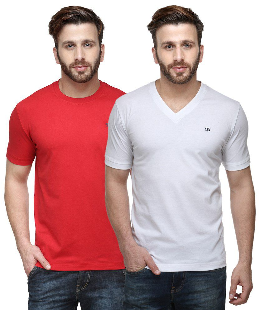 Dazzgear Combo of Regular Fit V-Neck and Round Neck T-Shirts - Red & White